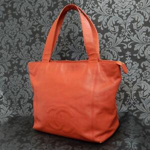 ca9331749459 Rise-on Vintage CHANEL CAVIAR SKIN Leather Orange Tote bag Shoulder ...