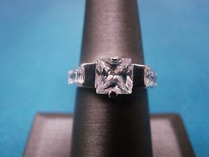 Radiant Cut CZ Engagement Fashion Ring Sterling Silver 925 Size 7 NWOT