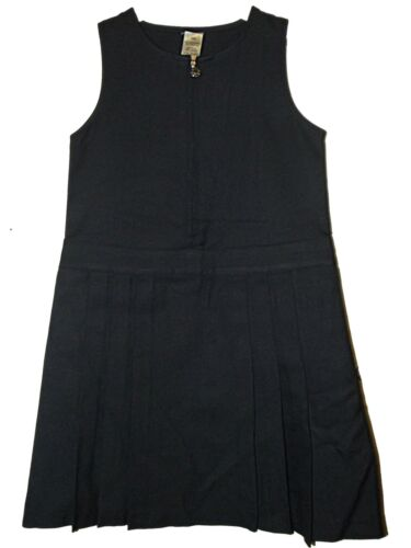 NEW GIRLS EX STORE NAVY FLOWER ZIP FRONT 6 PLEAT SCHOOL PINAFORE AGE 3-12 yrs D