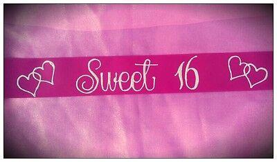 Sweet 16th Birthday Sash Pink & White Sparkly Stunning