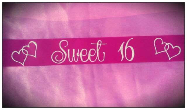 Sweet 16th Birthday Sash Pink & White Sparkly Stunning