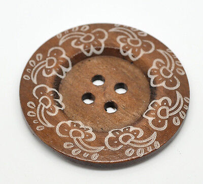 1 Stylish Extra Large 4 hole Wooden Sewing Button 60mm Sweaters  design 6