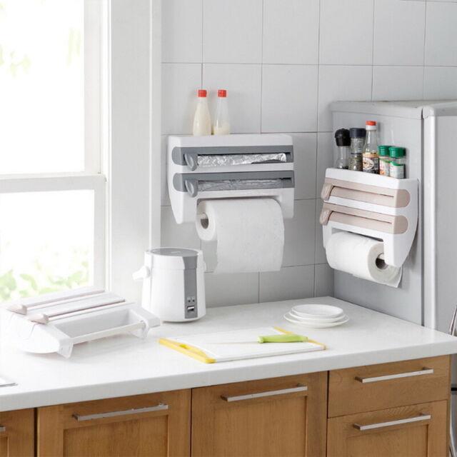 4in1 Kitchen Roll Dispenser Cling Film Tin Foil Wall Mounted Towel Holder Rack U