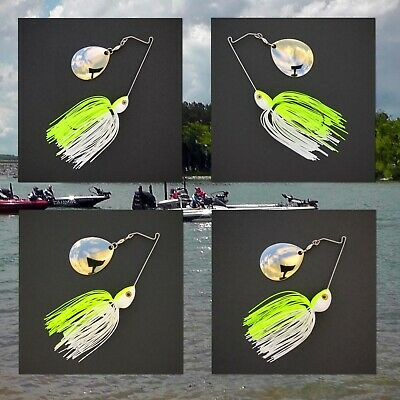 Bassdozer spinnerbaits SHORT ARM WILLOW 3//8 oz CHART WHITE spinner bait baits