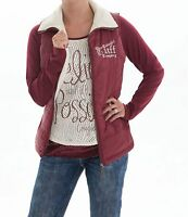 Cowgirl Tuff Burgundy & Cream Reversible Branded Zip Up Vest H00419