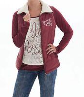 Cowgirl Tuff Burgundy & Cream Reversible Branded Zip Up Vest H00419