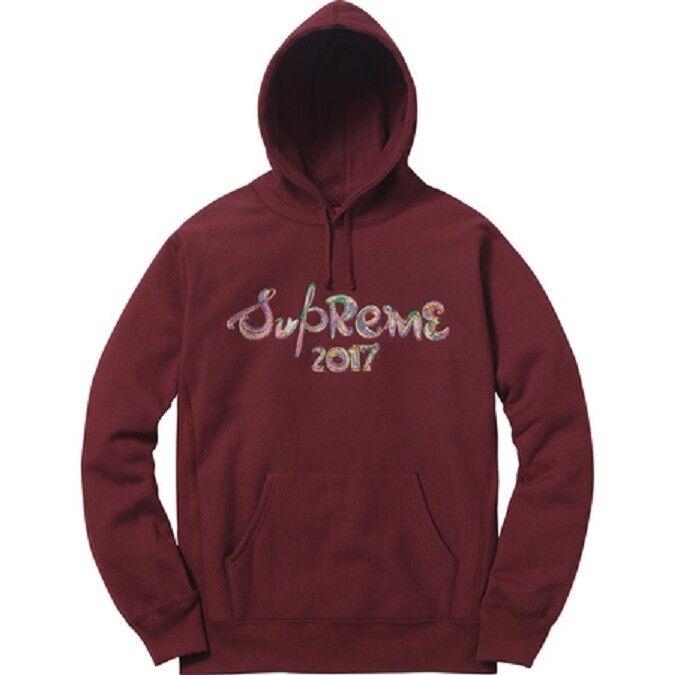 Supreme Brush Logo Hooded Sweatshirt Burgundy ROT Hoodie Hoody - Large - DS NEW