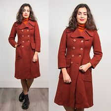 WOMENS VINTAGE BURNT ORANGE DOUBLE BREASTED COAT JACKET 70'S MOD STYLE 8 10