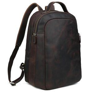 Men Genuine Leather Travel Bag Laptop Backpack 14/'/' Computer Notebook School Bag