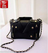 Women's black fashionable motorcycle jacket faux leather bag handbag purse