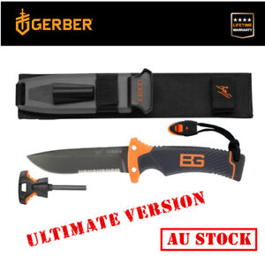 Genuine-Gerber-Bear-Grylls-Survival-Ultimate-Fixed-Blade-Knife-Flint-Whistel-AU