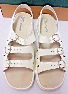 Details about IN ORIGINAL BOX CLARKS SANDALS SPRINGERS SUNBEAT LEATHER WHITE 3 STRAP 11 WIDE