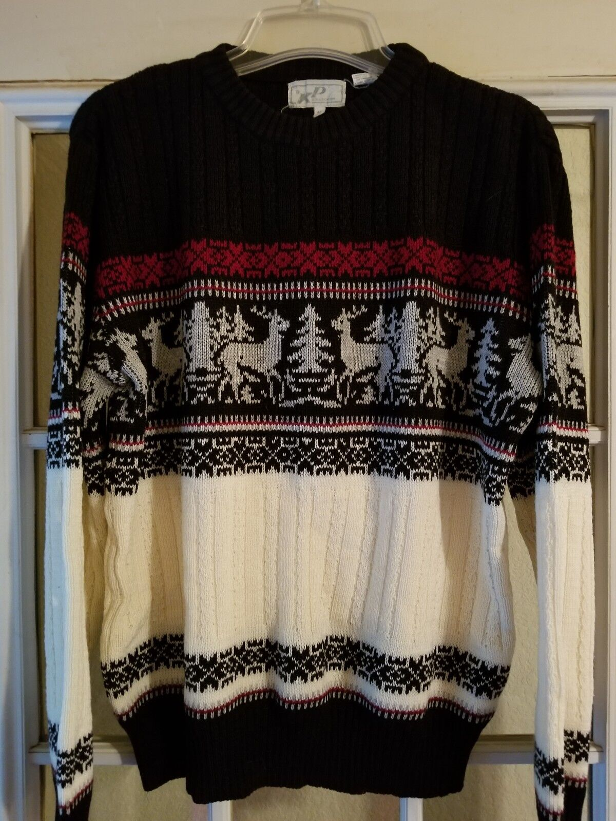 Mens Christmas Sweater Holiday Deer Reindeer Party Size Medium Acrylic