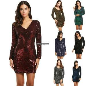 f3cc8e40a2985 Women's V-Neck Long Sleeve Sequined Bodycon Cocktail Club Party Mini ...