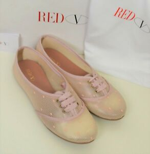 Red-Valentino-Shoes-Handmade-Sneakers-Pink-Polka-Dot-Cute-Loafers-Lace-Pattern