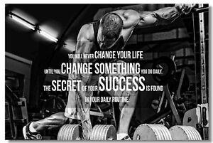 Detalles De Cartel Culturismo Para Hombres Mujeres Fitness Entrenamiento Comillas Motivacionales Fuente De Impresión De 012 Ver Título Original