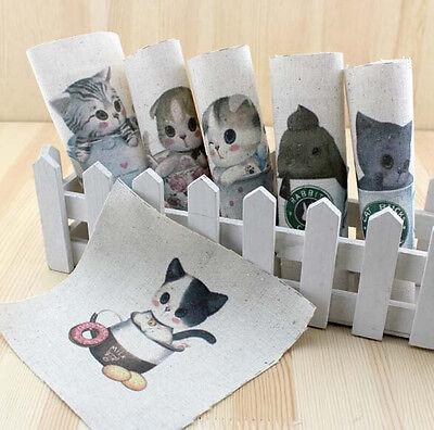 "6pcs assorted Pre-Cut Little Cat Cotton Linen Fabric Printed DIY 5.9""x5.9"""