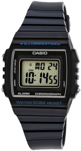 1 of 1 - Casio Unisex W-215H-2AV Classic Black Digital Watch 50M WR LED Light Blue New
