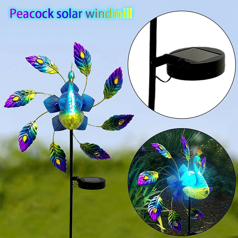 Iron Painted Peacock Decorative Stakes Solar Light Windmill Yard Garden Home