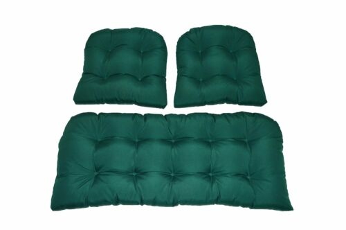 Solid Hunter Forest Green Outdoor Cushions for Wicker loveseat /& chairs 3 PC Set