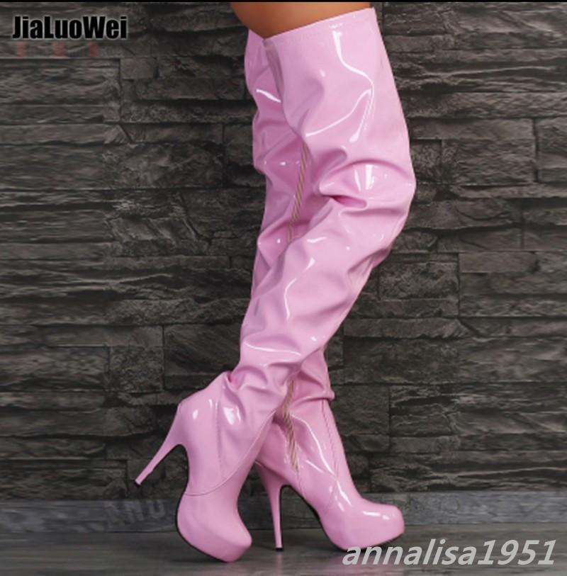 Damen Damen Damen Schuhe Stiefel Overkneestiefel Stiletto Lackleder Plateau Übergrößen b69713