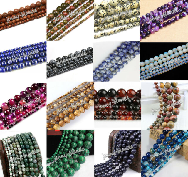 Natural Gemstone Round Spacer Loose Beads Multi Color 4mm 6mm 8mm 10mm 12mm
