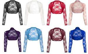 Womens-Cropped-Lace-Shrug-Ladies-Bolero-Plus-Size-Jacket-Cardigan-Top-Size-8-26