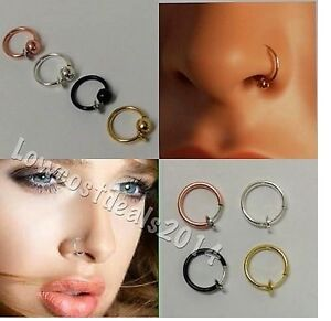 Clip On Fake Nose Hoop Ring Ear Septum Lip Navel Eyebrow Earrings With Ball