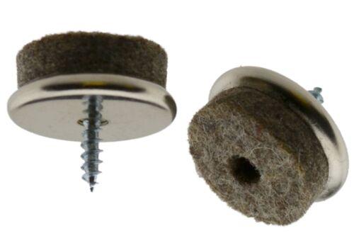 16 x Filzgleiter Metall Ø 25mm mit Schraube Stuhlgleiter Möbelgleiter Gleiter