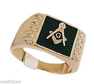 Black-s10-Masonic-Mason-18kt-Gold-Plated-Mens-Ring-New