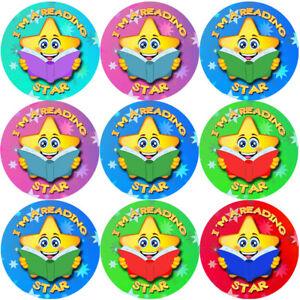144-sono-una-lettura-STAR-30-mm-Adesivi-Ricompensa-insegnanti-genitori-Nursery