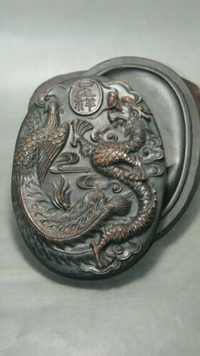 Chinese old wa shi Stone Inkstone with Exquisite carving Dragon and Phoenix