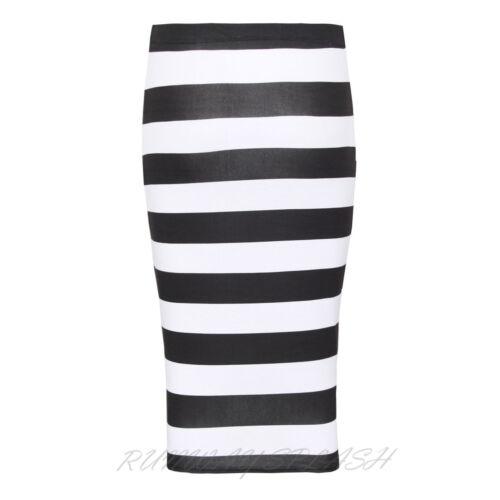 New Ladies Printed Stretchy Pencil Body-con Women/'s Midi Skirt Plus Size PA