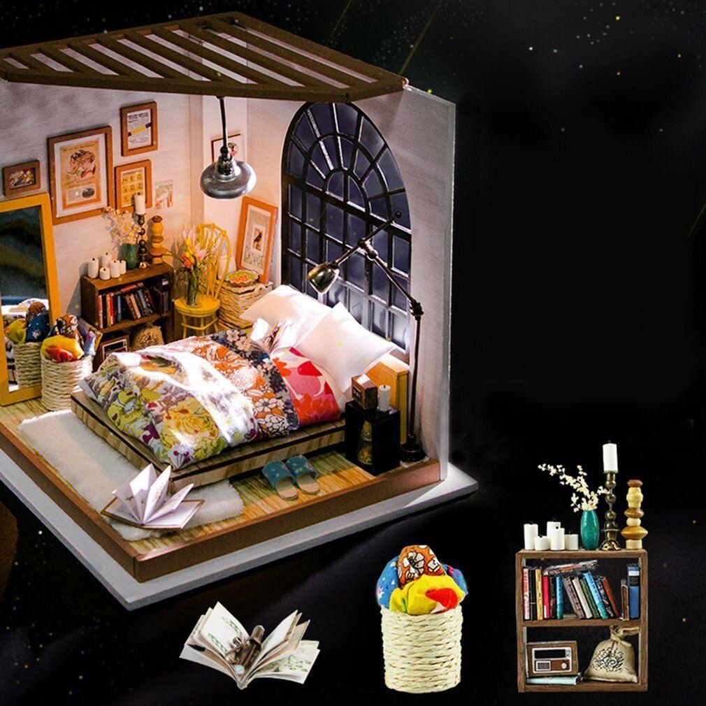 Robotime 3D DIY House Alice's Bedroom Wooden Puzzle Handmade Home Miniature JW