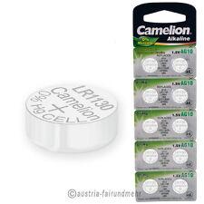 """10x Camelion Knopfzellen Alkaline AG10 LR54 V10GA 1130"