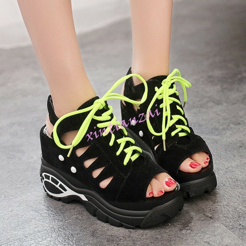 Women high platform wedage heel lace up Peep toe slingback Sport Sandals Leisure