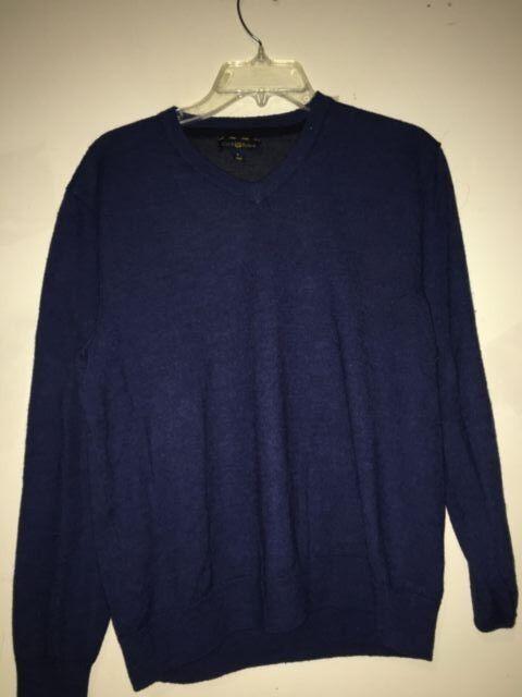 Club Room Größe L Navy Blau Sweater MERINO WOOL Blend WPL 8046