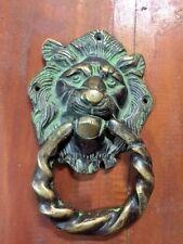 Lion Solid Bronze Door Handle Mixed Vintage Patina
