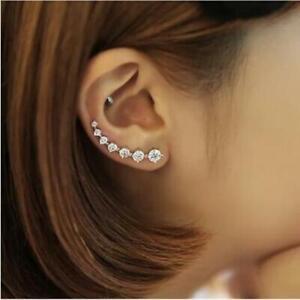 Damen-Ohrringe-Ohrklemme-Cartilage-Climber-Crawler-925-Silber-Zirkonia-Kristalle