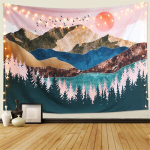 Details About Mountain Tapestry Forest Tree Wall Hanging Sunset Nature Landscape Bedroom Decor