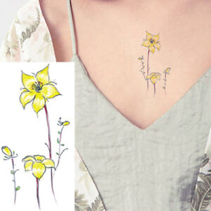 67023469ec1f9 Image is loading SMALL-YELLOW-LILLY-FLOWER-LEAFS-WOMEN-REALISTIC-TEMPORARY-