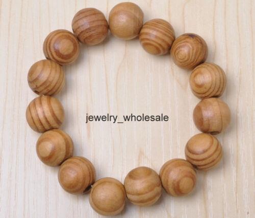 Vente en gros diamètre 16 mm couleur naturelle bois perles rondes Bracelet Bead Bangle