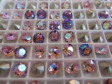 12 Light Rose AB Foiled Swarovski Crystal Chaton Stone 1088 29ss 6mm