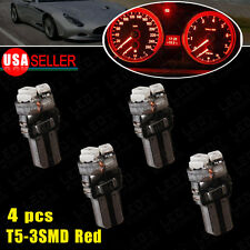 4X T5 3-SMD RED Instrument Panel Cluster Dash LED Bulb Light 73 74 70 37 17 12V