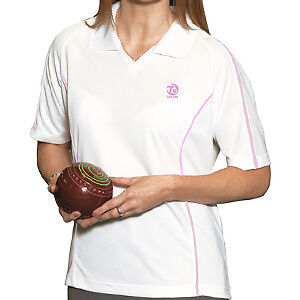 LADIES PINK TIREE LAWN BOWLS TOP / SHIRT/ BLOUSE IN STOCK S,M,L,XL,XXL