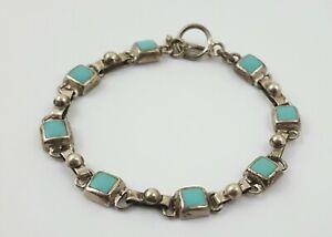Vintage Mexico 925 Sterling Silver Turquoise Modernist Bracelet