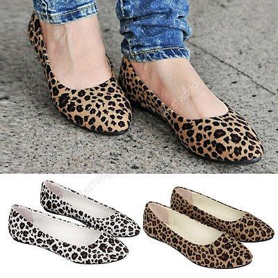Womens Leopard Print Ballet Ballerina Flat Pump Ballet Dolly Shoes
