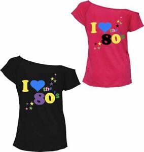 Womens I Love The 80s Tshirt Pop Star Retro Parties tees Top