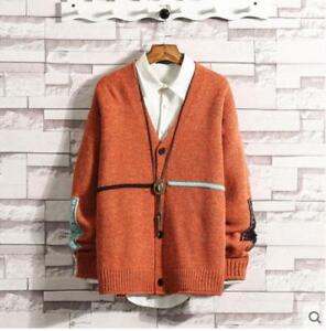 02af94ab7b5 Mens Retro V-neck Letter Floral Sweater Cardigan Buckle Plus Size ...