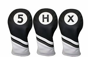 Golf-Headcover-Black-and-White-Leather-Style-5-X-H-Fairway-Hybrid-Head-Covers